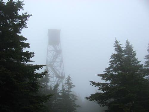 fire tower on a foggy afternoon