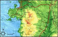 Map of the surrounding area,...