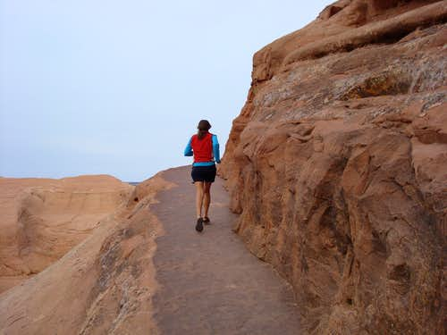 Running towards Delicate Arch, Utah
