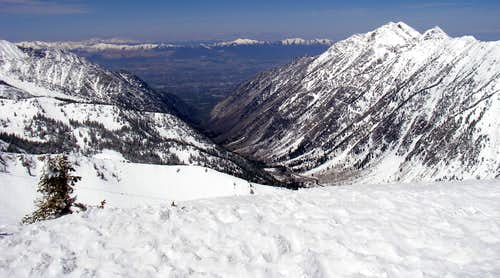 Looking down Little Cottonwood Canyon