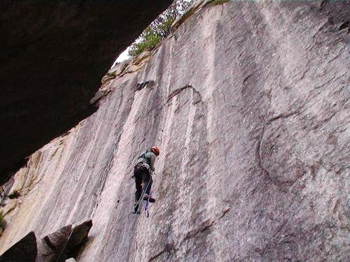 Overhanging fun crack nailing...