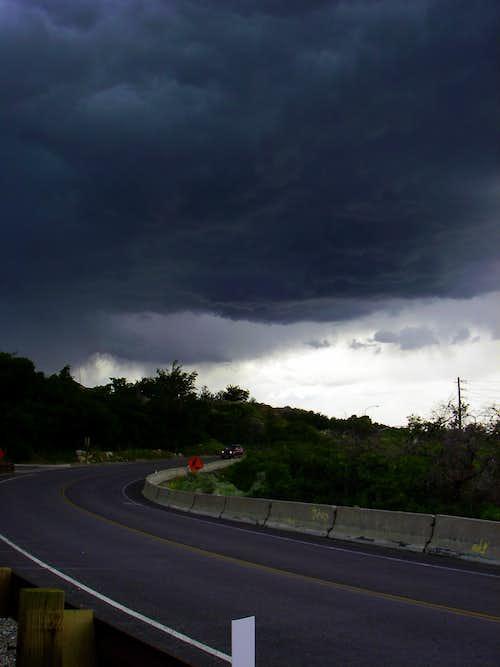Dark clouds at Bells Canyon...