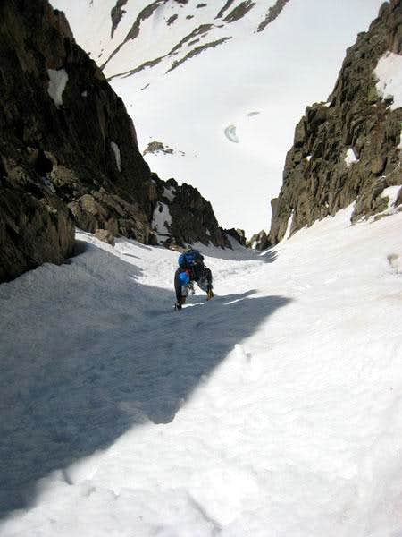Easy snow after the crux.