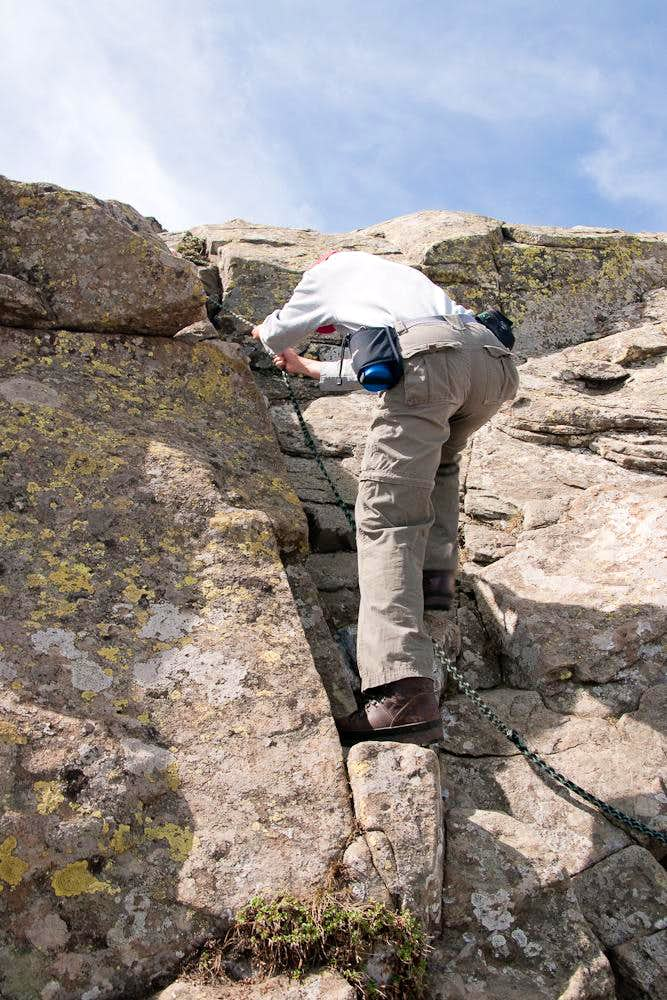 Climbing the protected section