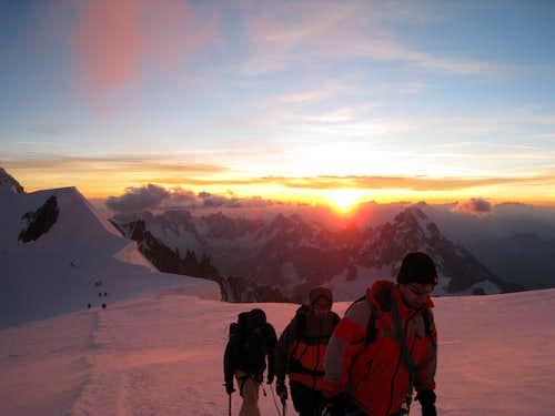 Other parties at Col de la Brenva at sunrise