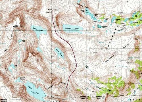 Topographical map showing one...
