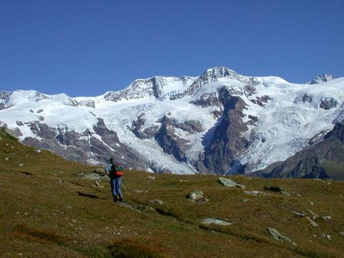 Hiking in front of Monte Rosa.