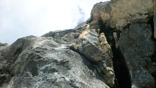 Looking up at Pitch 3 (5.10c, or VII-)
