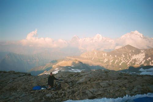 Mark at the bivi, lookin over to Eiger Monch Jungfrau