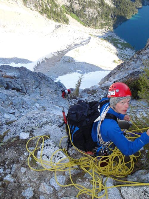 belay below the flake pith at the base of the black tower