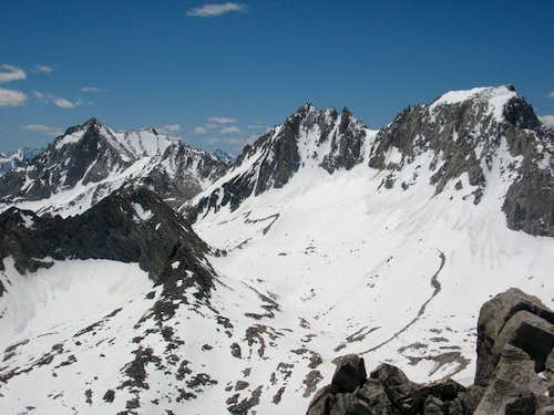 Bear Creek Spire, Mts. Dade & Abbot from Ruby Peak