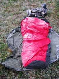 It is still cold at 12,000 ft end of June - my ice covered bivouc sack