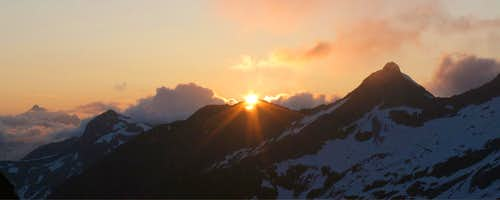 Sunset from camp on Chopping Block Ridge, Southern Pickets, North Cascades, WA