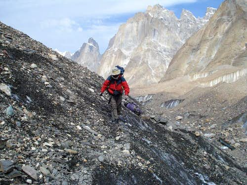Trekker on Baltoro Glacier