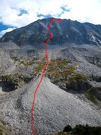 Our route on the west face