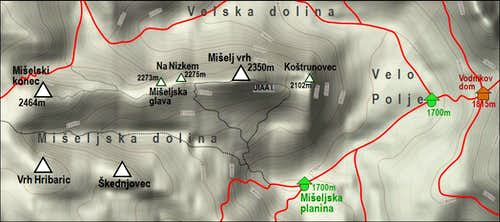Miselj vrh map