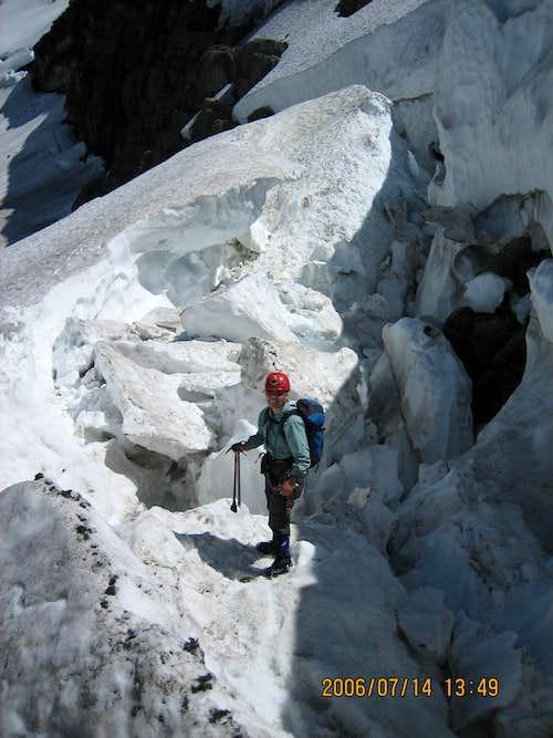 Schrund near ice cliff