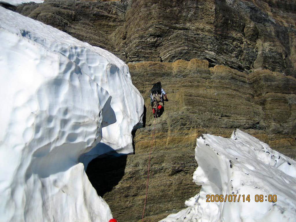Around the the schrund near the ice wall