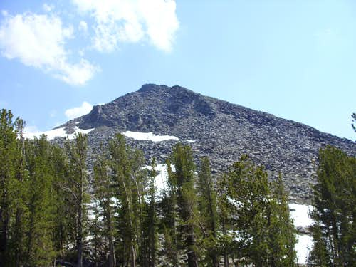 Looking up at the summit block
