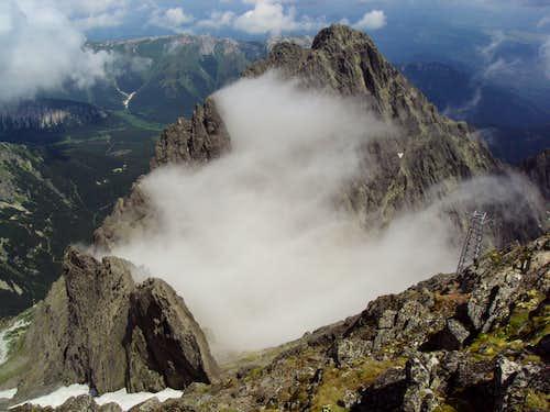 View of Kezmarsky summit (2556m)from Lomnicky stit