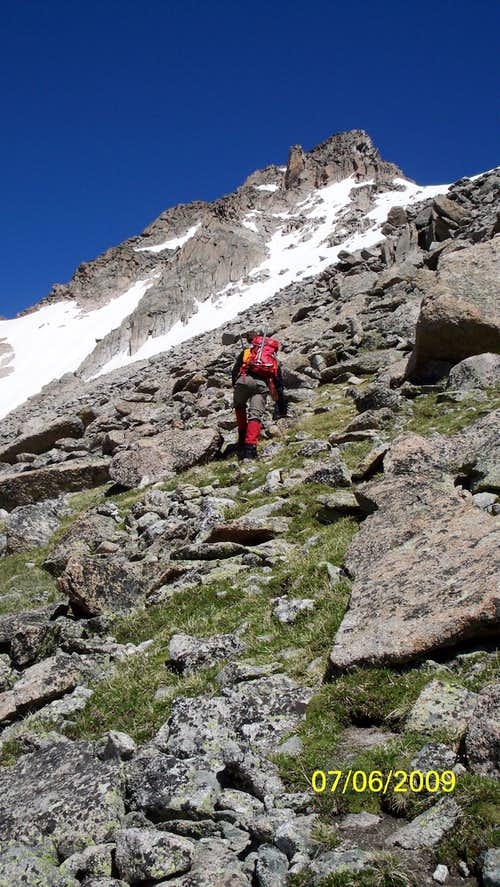 scrambling up McHenry\'s Peak