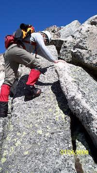 scrambling up McHenry's Peak