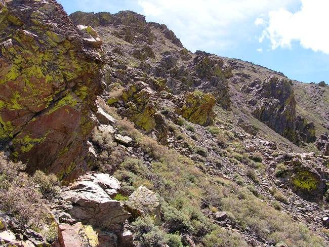 The rock ridge I descended on...