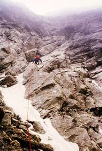 During the second ascent  of the Direttissima route of the N face of Monte Emilius