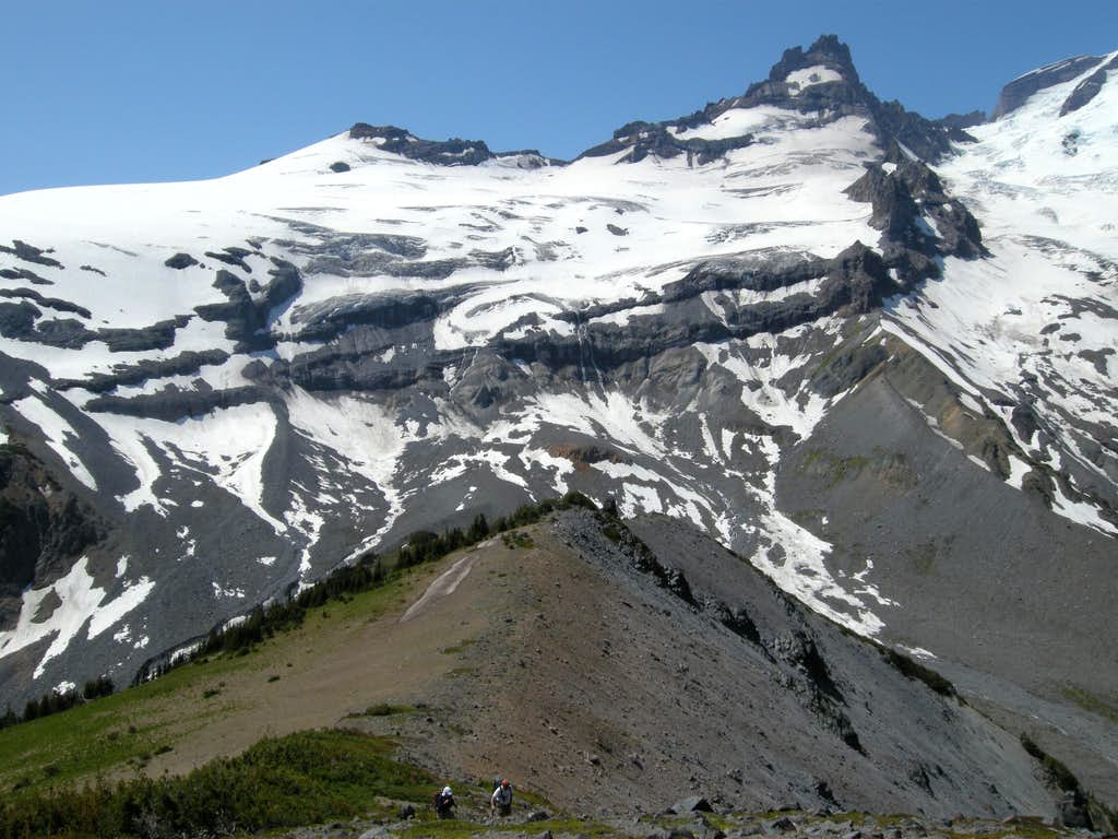 Climbing the Ridge with Little Tahoma