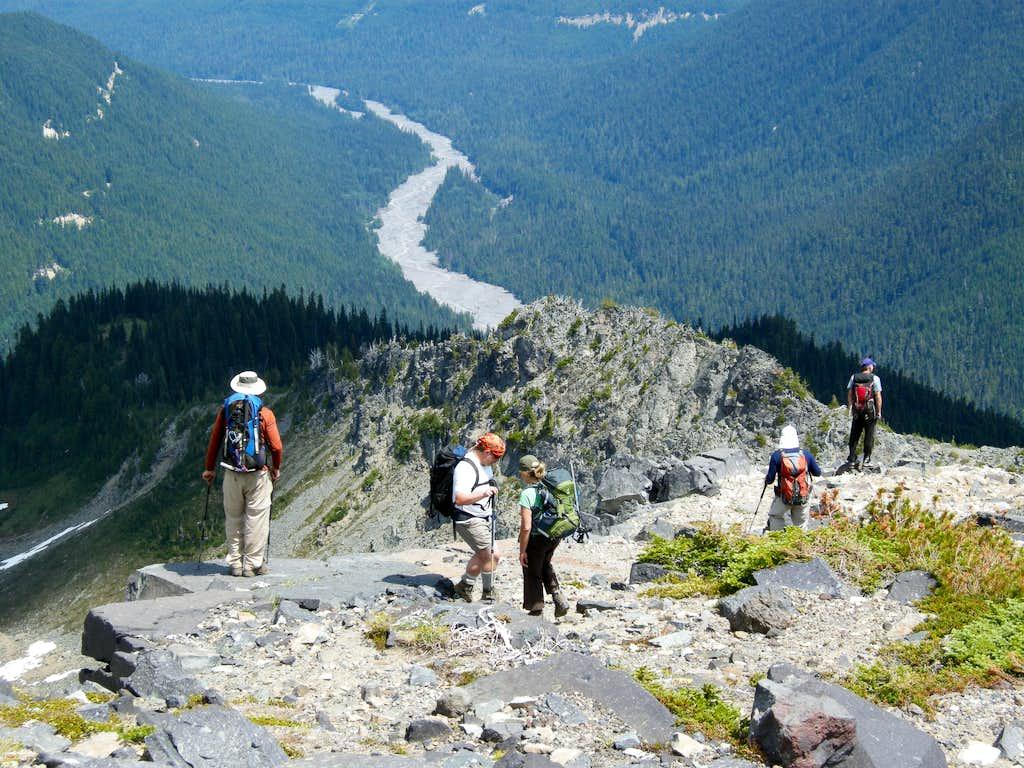 Heading down the Northeast Ridge
