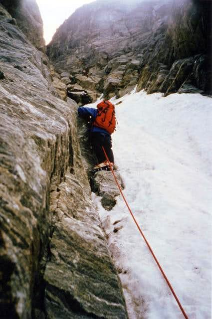 M. Emilius\'s  N face  <i>3559m</i> (July 28, 1984):<br> about 300 meters from the bergschrund