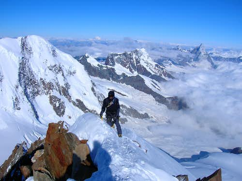 On the first part of the summit ridge