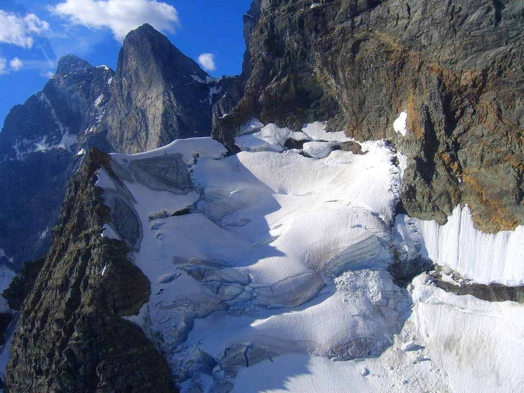 Haunting view of the Goodsir Towers & Glacier