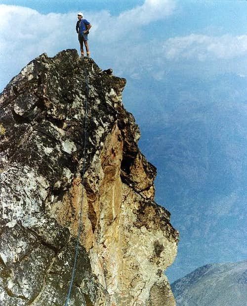 Osvaldo Cardellina on the Black Triangle of the Emilius <i>3378m</i> (August 8th,1976)
