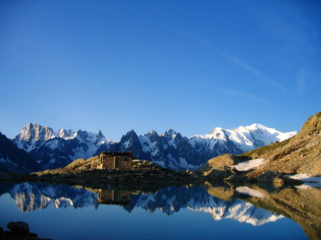 Mont Blanc reflecting in Lac Blanc