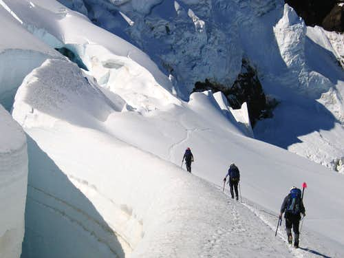 Descending the Coleman Glacier on Mount Baker