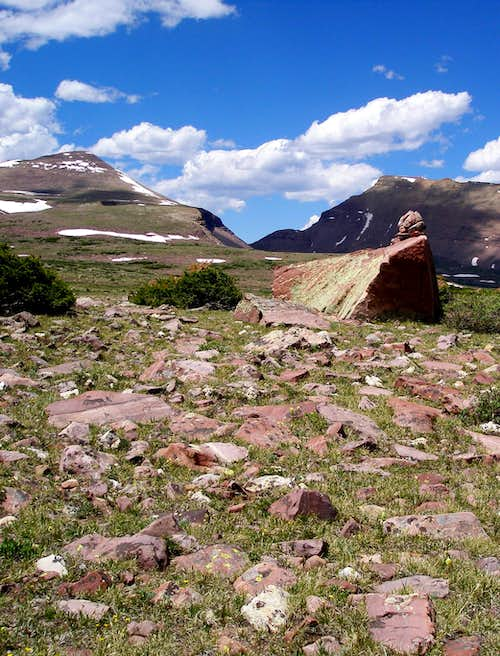 Gunsight Pass and cairn