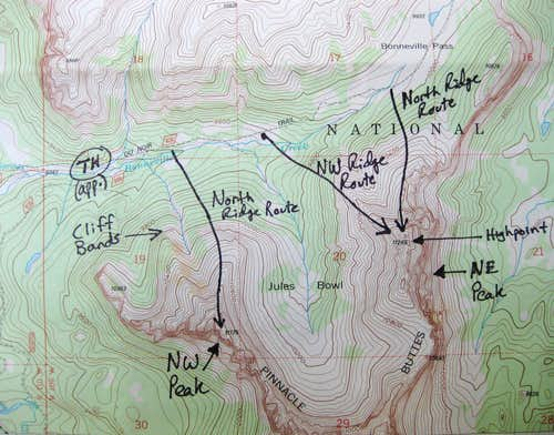 Route Topo-- Pinnacle Buttes
