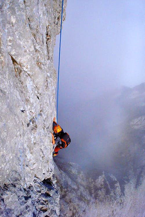 Jon Cruces climbing Pidal-Cainejo route on the north face