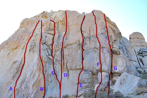routes of the east face