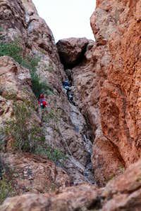 Climber nearing the chockstone