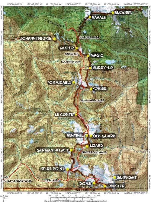 Map of Ptarmigan Traverse showing all major peaks along the way