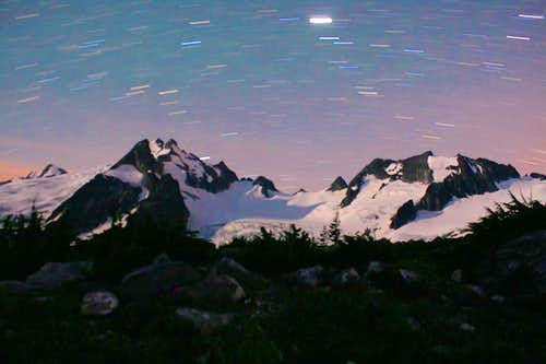 Night 4 on Ptarmigan Traverse: 9 minute exposure of star trails over Dome Peak from White Rock Lakes