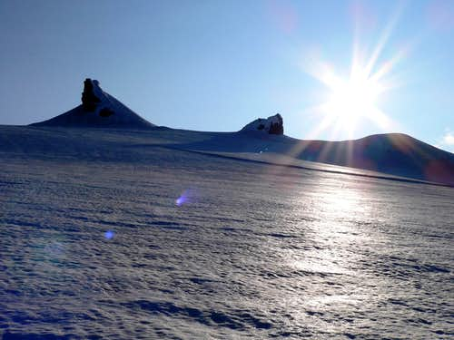 Snæfellsjökull middle and north summit pinnacles