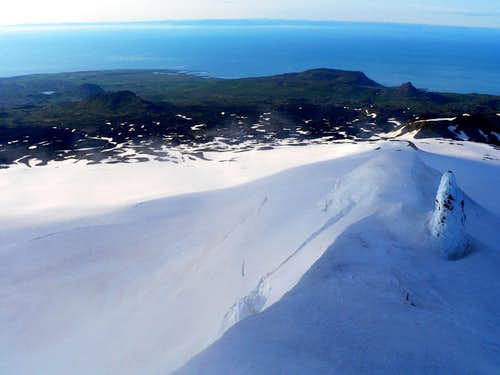 View from Snæfellsjökull's middle summit pinnacle