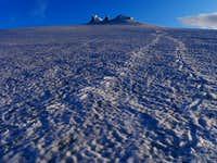 Snæfellsjökull's middle and north summit pinnacles