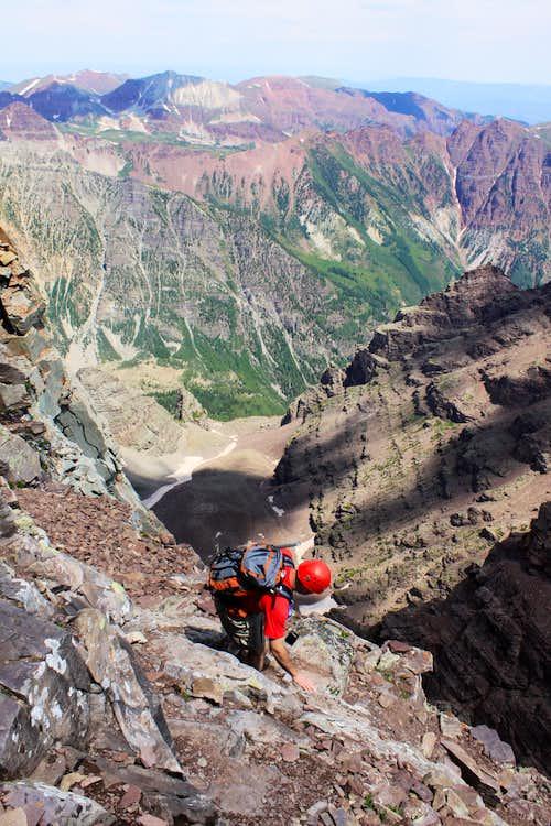 Descent from Pyramid Peak