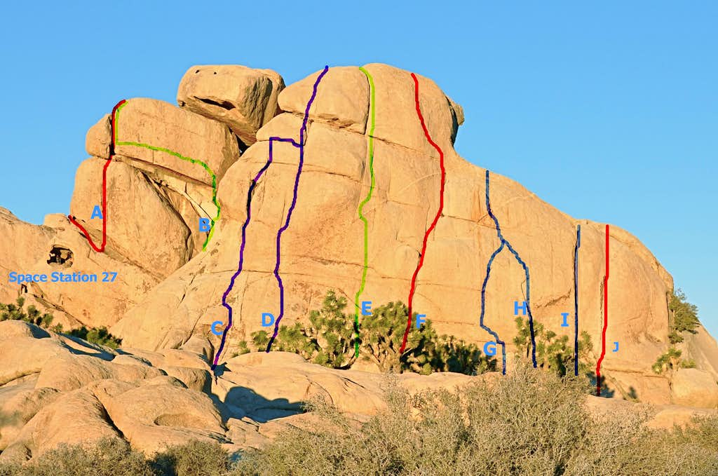 Routes of the west face,