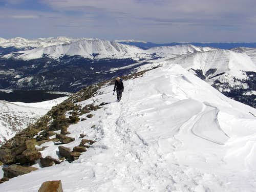 Climber approaching the top of Quandary Peak