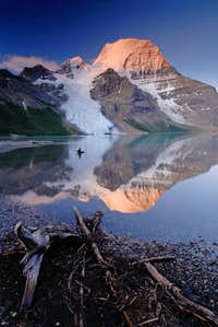 Mt Robson sunrise reflection in Berg Lake